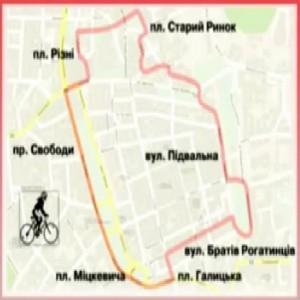 План велокільця довкола історичного центру Львова