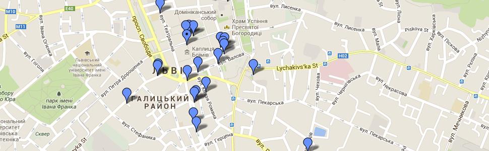 Карта велостоянок у Львові